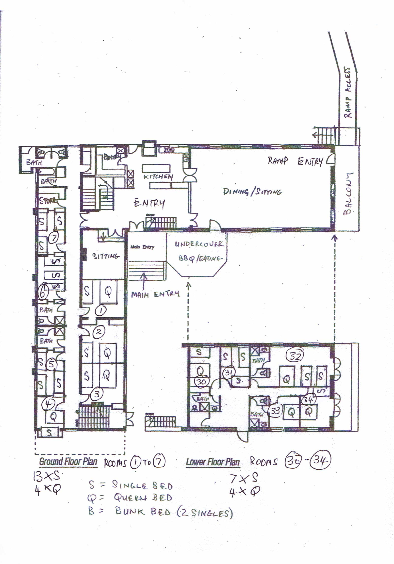 Ground floor and Lower floor layout and room numbers