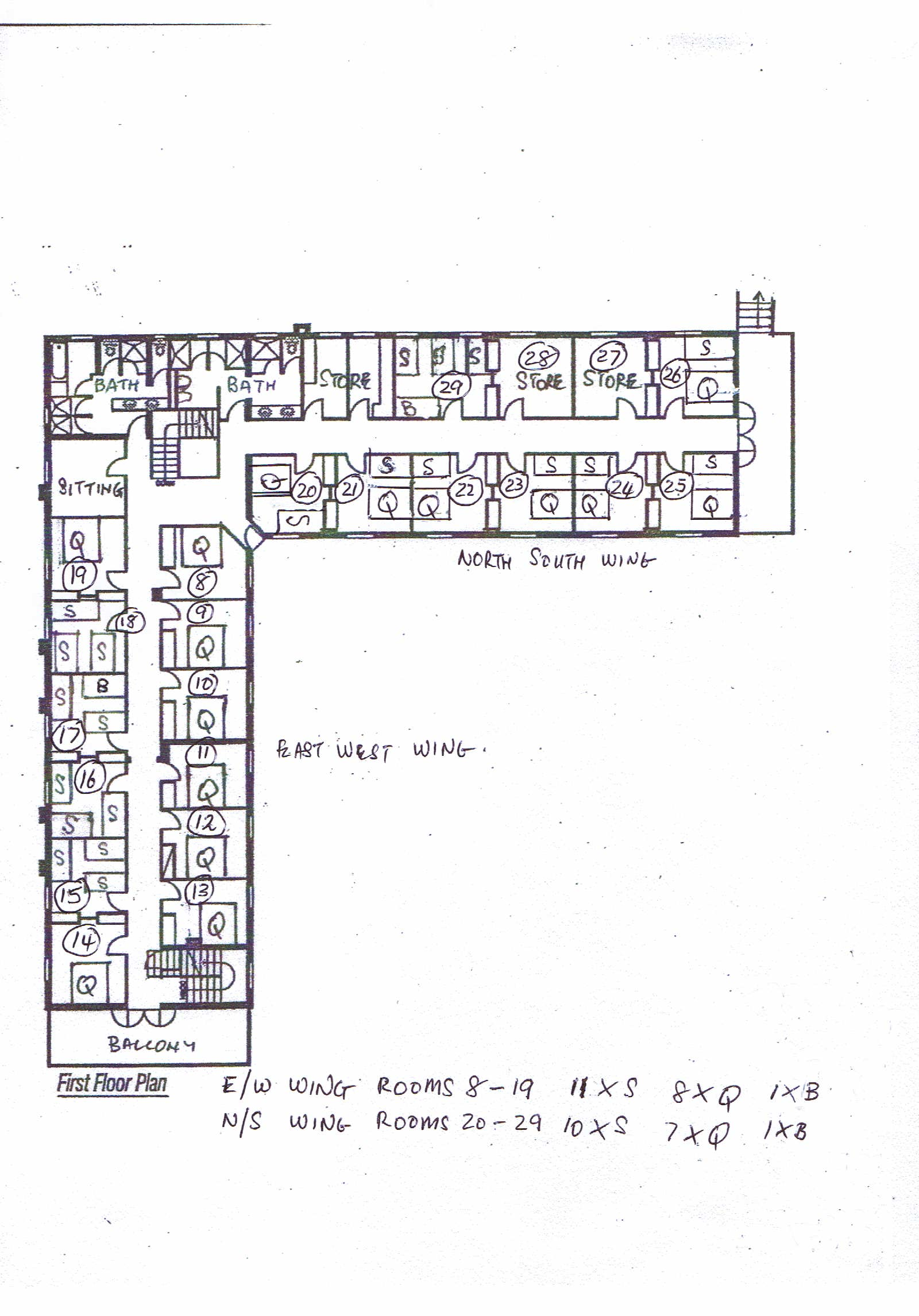 Upper floor bed configuration and room numbers